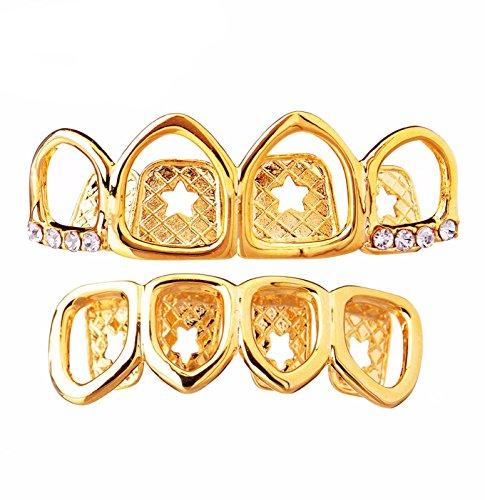 Metaltree98 Top & Bottom Grillz 4 Teeth 14K Gold Plated O...