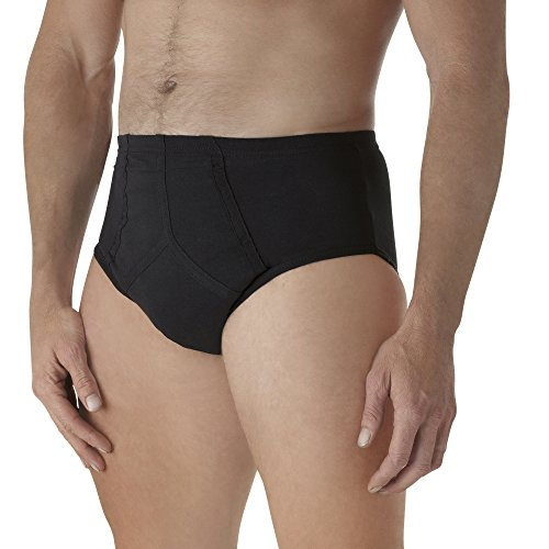 DBrief #1 Best Discreet Absorbent Washable Reusable Incontinence Bladder Control Protective Underwear, Delivered to Your Home discreetly, Mens Y Front Black Large 6583