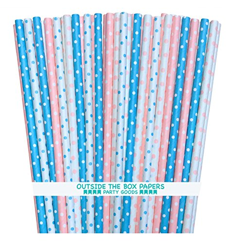 Gender Reveal Paper Straws  Valentine Light Blue Pink White  Polka Dot  775 Inches  100 Pack  Outside the Box Papers Brand