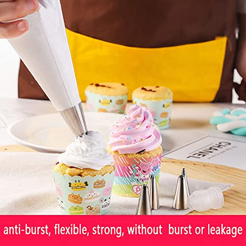 Thickened-Piping bags-Disposable Pastry bag-100pcs icing piping bags&6Pieces Pastry Bag Ties, Cake Cupcake Decorating Bags for Icing and Frosting (12 Inch)