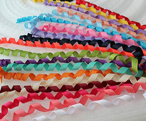 FidgetFidget Ribbon 30 Yards Curly Korker Ponytail Curled Grosgrain,Mix ()