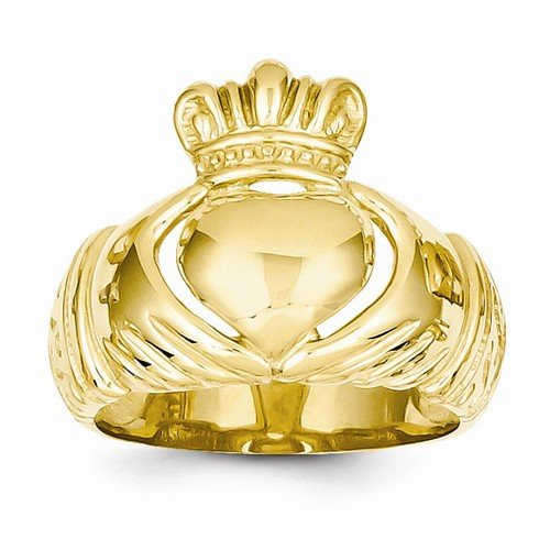 Size - 9.5 - Solid 14k Yellow Gold Polished Domed Claddagh Ring (10 to 24 mm)