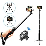 Image of Selfie Stick, UBeesize Extendable Monopod with Tripod Stand and Bluetooth Shutter Remote for iPhone, Samsung, other Android phones, digital cameras and GoPro
