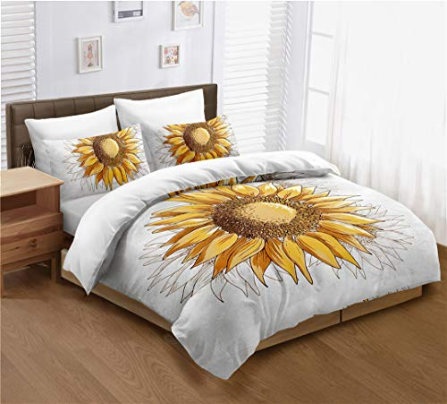 Sunflower Duvet Cover Set Full Size, Yellow Sunflowers Painting Effect and in Minimalistic Design Artwork, Decorative 3 Piece Bedding Set with 2 Pillow Cases, Modern Style for Men and Women