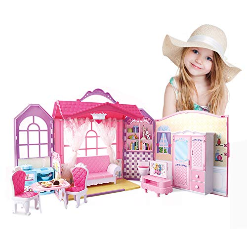 Super Joy Folding Dollhouse with Furniture, Including 70+ Accessories to Createup to 8 Scenes, Portable Doll's House Playset with Latch & Carrying Handle