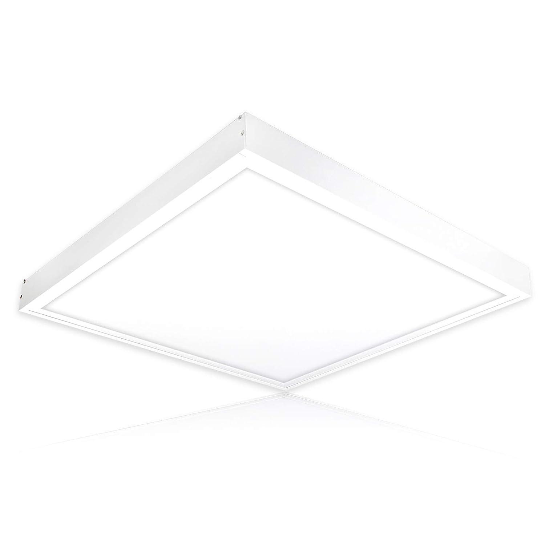 LED Deckenleuchte warmweiß 3000K Deckenlampe 62x62 40W LED Panel inkl. Aufbau-Rahmen ideal für Wohnzimmer Lampe Schlafzimmer LED Panel Solarien Sonnenstudios ENEC