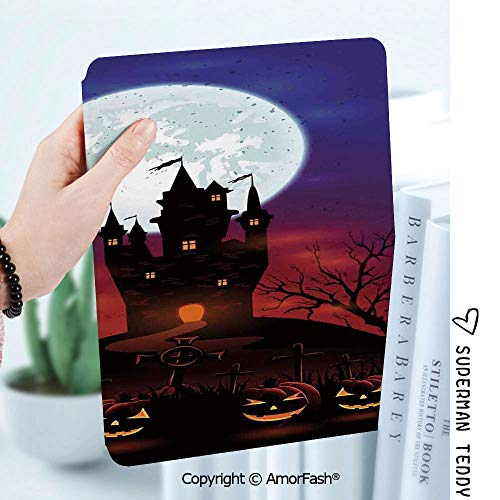 Case for Samsung Galaxy Tab A 8.0 2017 Model T380 / T385, Smart Slim Shell Stand,Halloween Decorations Gothic Haunted House Castle Hill Valley Night Sky October Festival Theme -