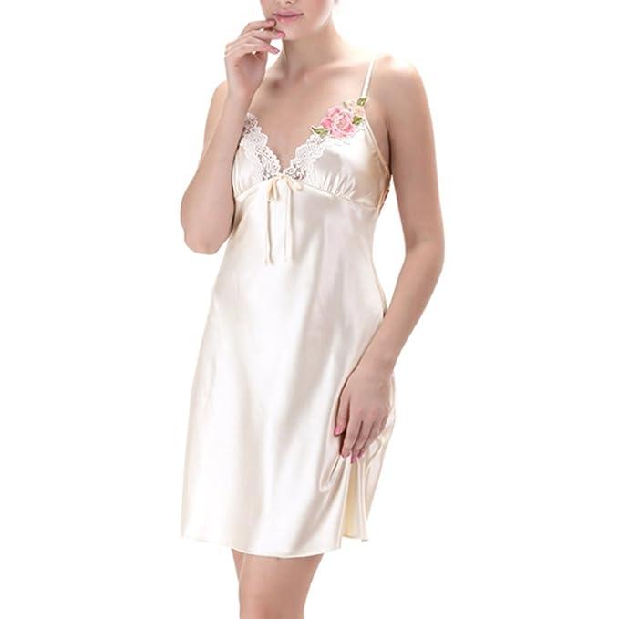Yr-r Señoras Verano Bordado Sling Camisón De Encaje Sexy Con Cuello En V Pijamas Sin Respaldo Camisones Para Mujeres Spa Vacaciones: Amazon.es: Ropa y ...