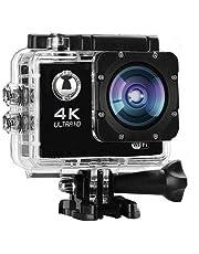 كاميرا سبورت الترا اكشن اتش دي عالية الدقة HD، 4 كيه، شاشة LCD مدمجة 2 بوصة، واي فاي، مقاومة للماء 30 متر، اسود