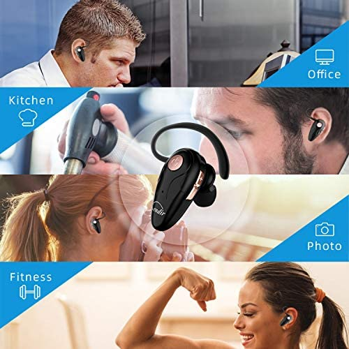Bluetooth Headset, Kendir V5.0 Ultralight Wireless Headphone Cell Phone Earpiece with Mic Headsetcase, Volume Control, Handsfree Earbud for iPhone, Android,Samsung Smartphone