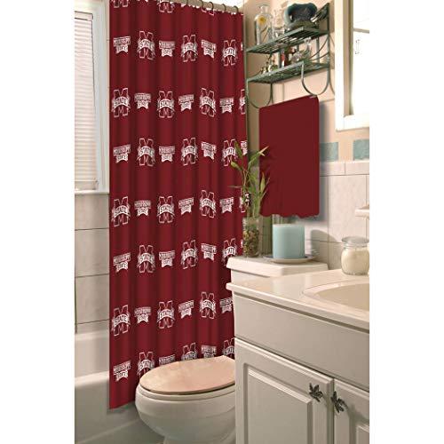 TN 1 Piece Maroon White Bulldogs Shower Curtain 72x72 Inch, Football Themed Bathroom Decoration Team Logo Fan Merchandise Athletic Team Spirit Fan Bath Decor, Decorative Bath Collection Polyester