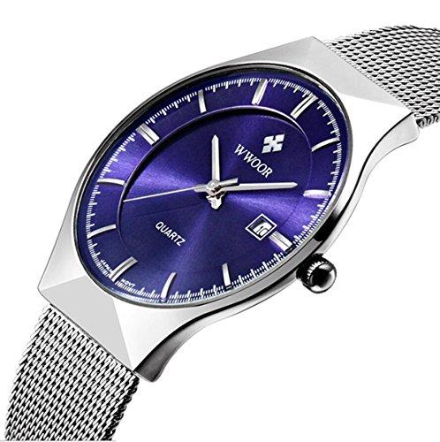 Genießen Armbanduhren Automatik Chronograph Uhr Edelstahl Uhrarmband Elegant (Blau)