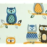 Fleece Fabric Printed ANTI PILL HANGING COUPLE OWLS WHITE BACKGROUND