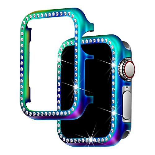 Apple Metal Plates - for Apple Watch Case 44mm, Falandi Colorful Metal Apple Watch Face Case with Bling Crystal Diamonds Plate Cover Protective Frame for iWatch Series 4/3/2/1 (Colorful-Diamond, 44mm)