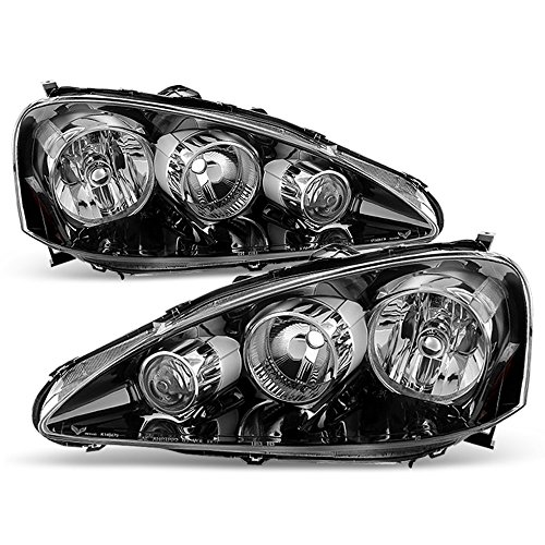 (ACANII - For 2005-2006 Acura RSX Black Headlights Headlamps Head Lights Lamps Replacement Driver + Passenger Side)