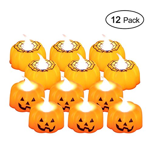 KOBWA Flameless Pumpkin Candles Lights with Spider Net 12 Pack LED Realistic Flickering Candles Dancing Flame Tealight Battery Operated for Halloween Christmas Festival Wedding Parties, Warm White