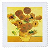 3dRose qs_128138_1 Sunflowers by Vincent Van Gogh Quilt Square, 10 by 10-Inch