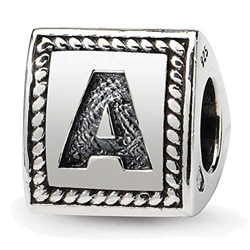 (Lex & Lu Sterling Silver Reflections Letter A Triangle Block Bead)