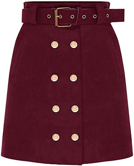 SOWTKSL - Mini Falda de Ante con cinturón para Mujer (Ajustada ...
