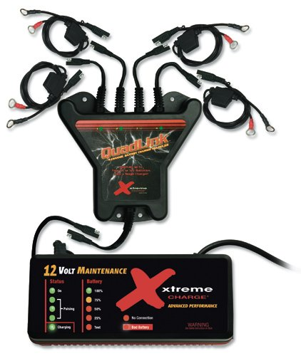PulseTech Xtreme 4-Station QuadLink Battery Charger Kit, Black
