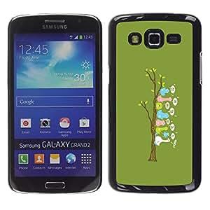 Caucho caso de Shell duro de la cubierta de accesorios de protección BY RAYDREAMMM - Samsung Galaxy Grand 2 - Lindo árbol Pájaro divertido