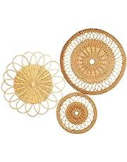 "IWALYA Wall Basket Decor Set- 3 Pieces Flat Woven Baskets Great for Boho Wall Decor and Rattan Wall Decor- 7.8""-13"" Hanging Woven Wall Basket Set 100% Handmade and Eco Friendly"