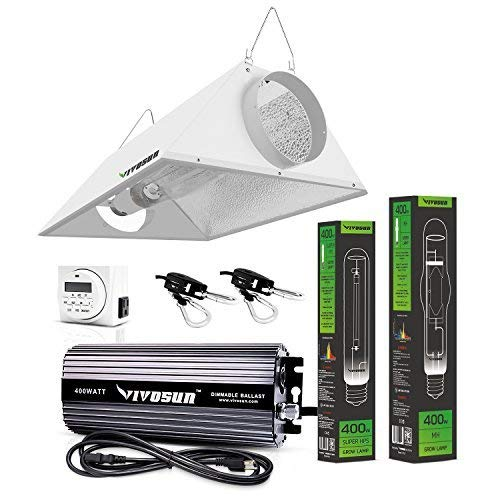 VIVOSUN Hydroponic 400 Watt HPS MH Grow Light Air Cooled Reflector Kit - Easy to Set up, High Stability & Compatibility (Enhanced Version) 400w Mh Grow Light