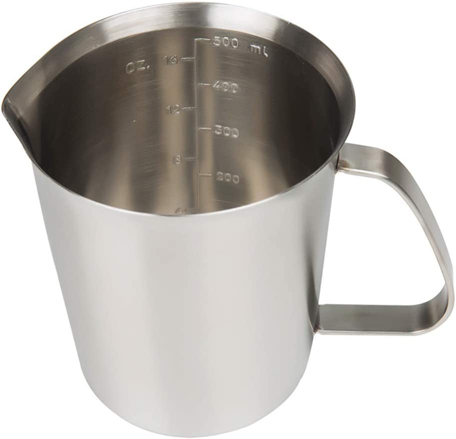 Measuring Cup, 304 Stainless Steel Measuring Cup, Milk Frothing Pitcher, Steaming Pitcher, Milk Frother Cup, Frothing Jug with Marking for Espresso Machine, Latte Art Cappuccino (16 Ounce /0.5 Liter)