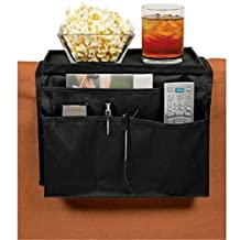 "Sofa TV Remote Control Organizer Holder Couch Chair Caddy Storage with Tray Over Arm Rest 5 Pockets to Hold Game Controller Pen Magazine Cell Phone iPad iPhone for Home Livingroom Study - BLACK, 12.5""*7.8""*2.7"""