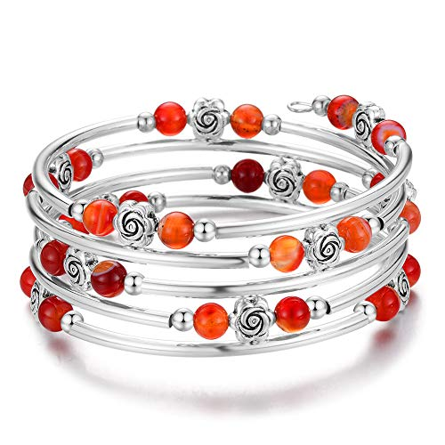 Wrap Bangle Rose Bead Bracelet - Beaded Bracelet with Natural Agate Stone Gifts for Women Girls (10-Red Brown)
