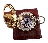 Brass Compass - Epstein London - Pocket Compass with Hard Wood Box by casanova nauticals
