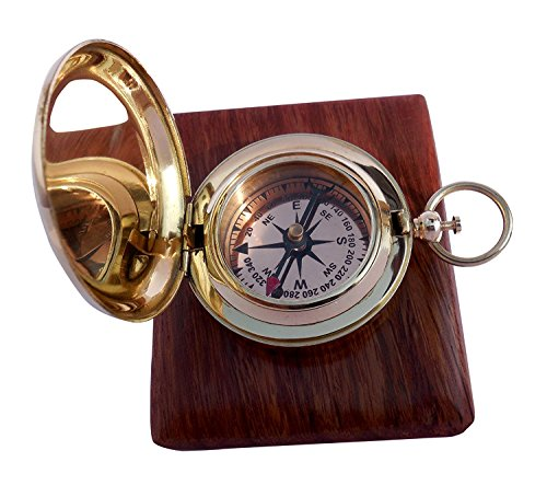 Brass Push Button Direction Compass POCKET COMPASS TH03365