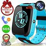 Kid Smart Watch Phone GPS Tracker for Girl Boy, Kids Tracker Watch Anti-Lost Smart Wrist Watch with SOS Call Digital Camera Flashlight Touch Screen, Children Electronic Learning Toy Birthday Gift