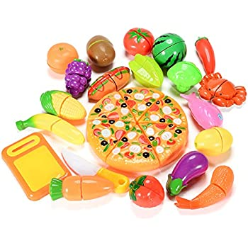 e34ce089c132e Amazon.com  SONi 32PCS Cutting Toys Pretend Food Fruits Vegetable ...