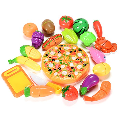 (ThinkMax Play Food Set for Kids, 26 Pcs Cutting Food Toy for Pretend Play, Kitchen Toys Fun Cutting Fruits and Veggies with Pizza Pretend Food Playset for Children Girls Boys )