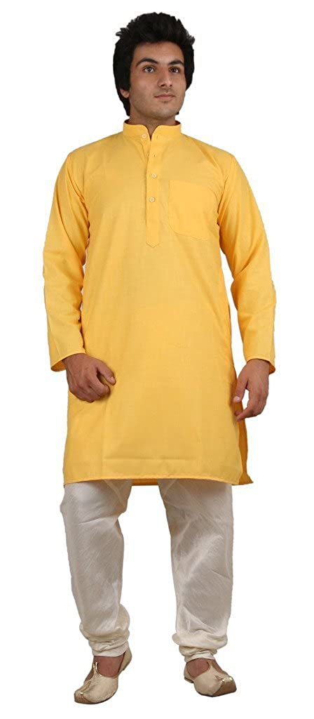 Royal Men's Bright Yellow Ehtnic Clothing For Summer's ROYAL-105-YELLOW-KP-
