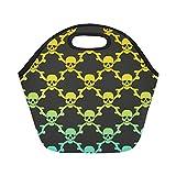 InterestPrint Skull Head Reusable Insulated Neoprene Lunch Tote Bag Cooler 11.93'' x 11.22'' x 6.69'', Mexican Skulls Portable Lunchbox Handbag