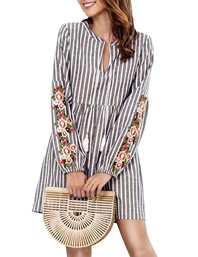 Blaward Womens Summer Casual Loose Striped Long Sleeve Embroidered V Neck Mini A Line Dress, Grey,L