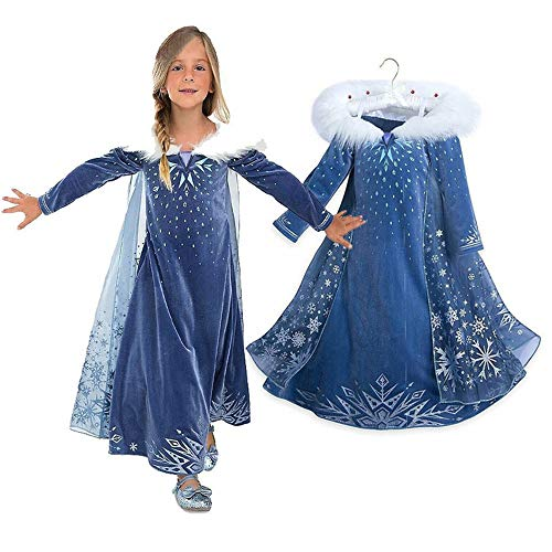 EsTong Girls Snow Princess Fancy Cosplay Dress Winter Toddlers Halloween Costume Party Dress Up Style One 6T