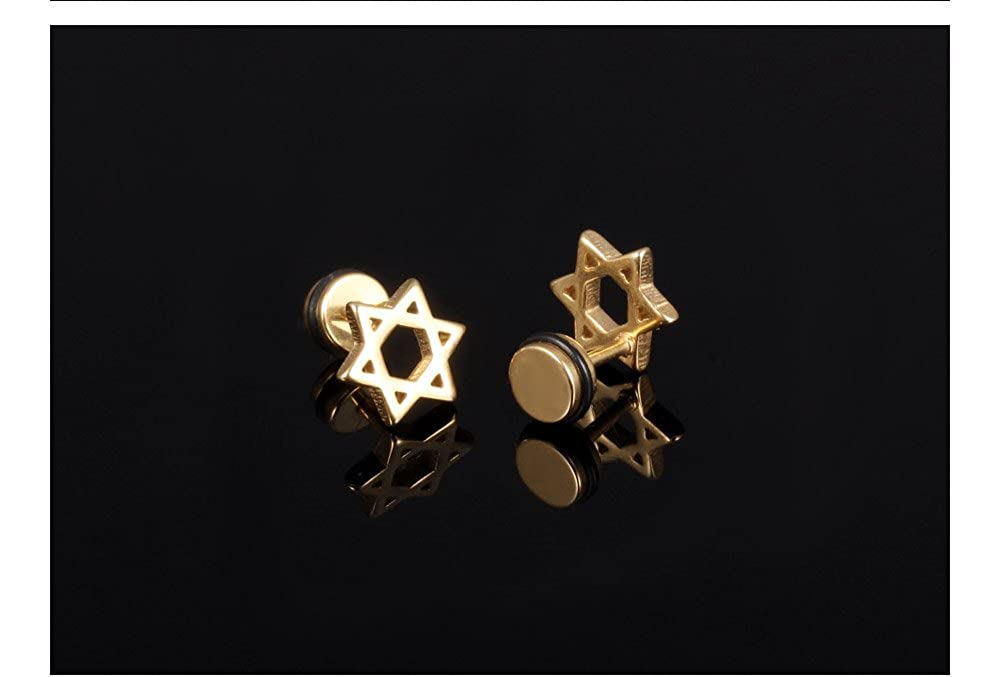 Fate Love 18K Gold Plated CZ Simulated Diamond Earrings Hamsa Hand,Star of David,Dainty Mini Bar Cross Stud Earrings Halo