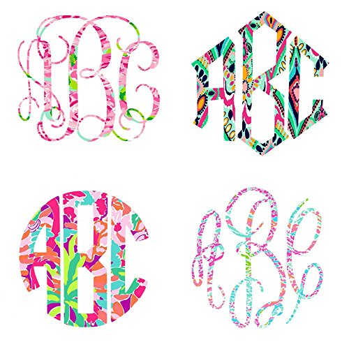 "Lilly Print Inspired Vinyl Decal Monogram - Pick Your Pattern, Monogram Style and Size (5.5"")"