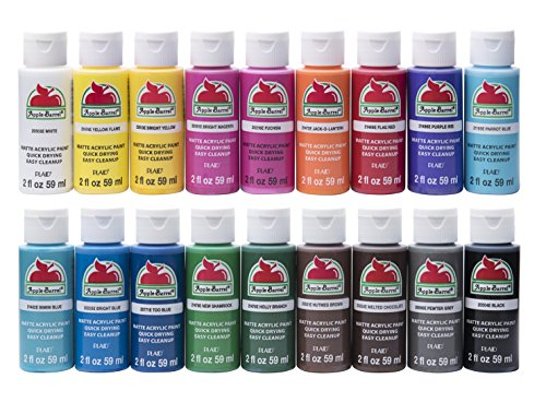 Apple Barrel Acrylic Paint Set, 18 Piece (2-Ounce), PROMOABI Assorted Colors - Painted Base Green