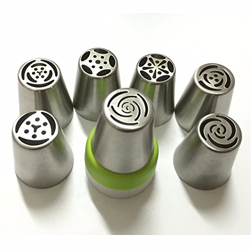 7PCS Stainless Steel Russian Tulip Icing Piping Nozzle + 1 Adaptor Converter Pastry Decorating Tips Cake Cupcake Decorator - Glasses Anniston Jennifer