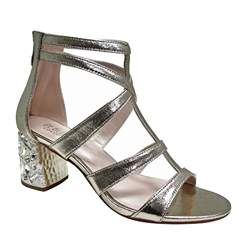 De Blossom Collection Womens Sandalo Con Tacco Basso Metallico Con Tacco Gioiello Impreziosito Oro