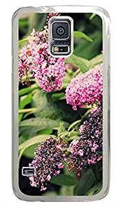 Samsung Galaxy S5 Plants and pink flowers PC Custom Samsung Galaxy S5 Case Cover Transparent