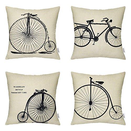 HIPPIH 4 Packs Pillow Cover - 18 X 18 Inch Linen Sofa Home Decor Design Cotton Throw Pillow Case Cushion, 4 Bike