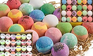 Gift Set of 24 Nurture Me Organic Bath Bombs, Large Bath Fizzies All Natural with Organic Shea & Cocoa Butter from Nurture Me Organics