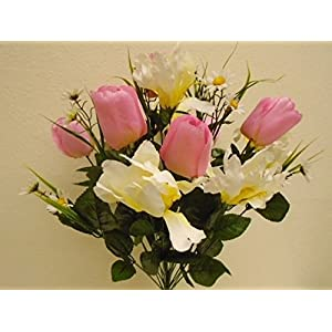 Silk Flower Arrangements JumpingLight Pink Cream Mix Tulip Iris Bush 22 Artificial Silk Flowers 22'' Bouquet 4927PKCR Artificial Flowers Wedding Party Centerpieces Arrangements Bouquets Supplies