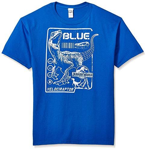 Jurassic Park Men's Officially Licensed Jurassic World Blueprint Graphic Tee, Blue//Raptor, Small