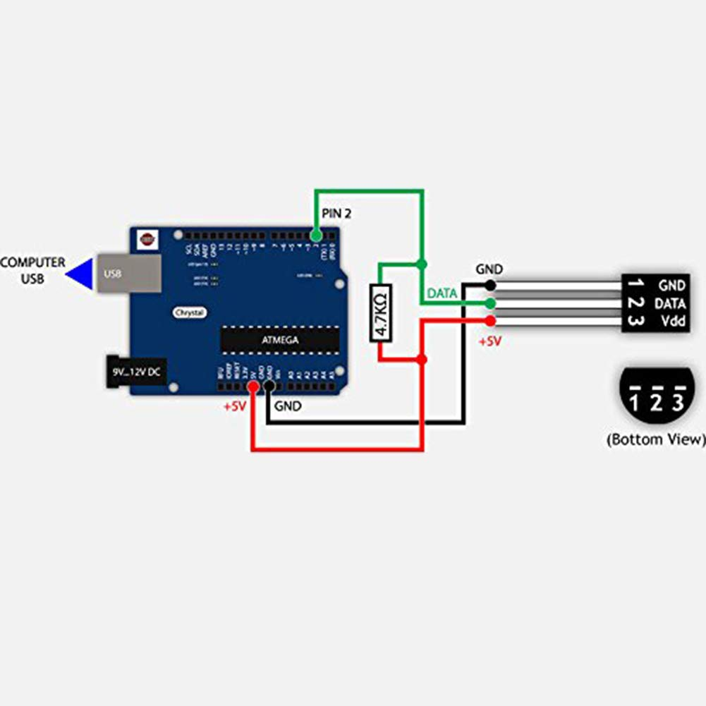 5PCS DS18B20 Temperature Sensor Waterproof Temp Digital Thermal Probe 5M 196.8inch for Arduino